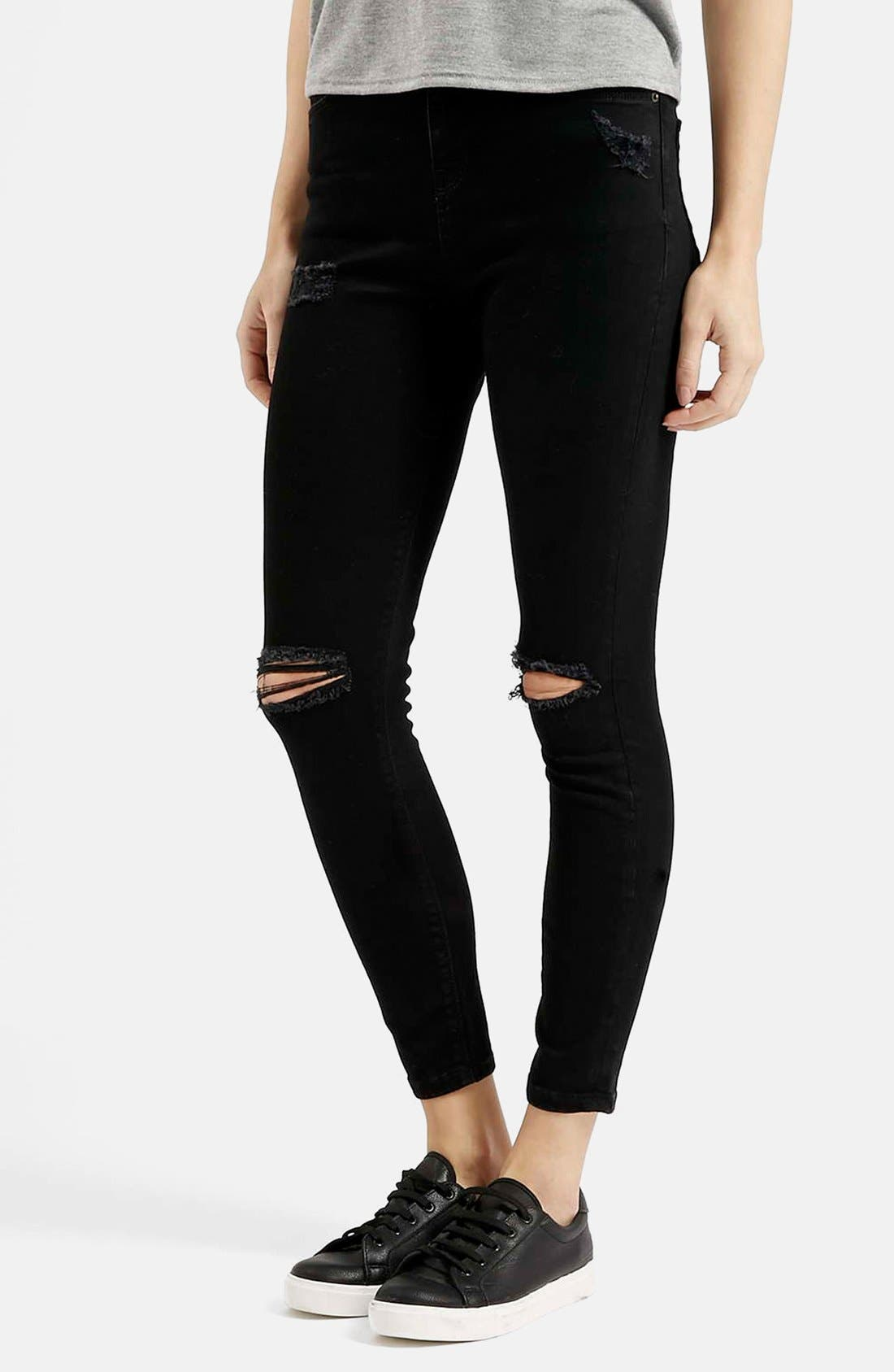 Alternate Image 1 Selected - Topshop Moto 'Jamie' Ripped Skinny Jeans (Black)