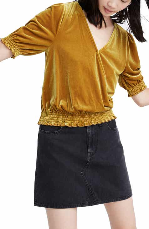 Madewell Velvet Smocked Crossover Top