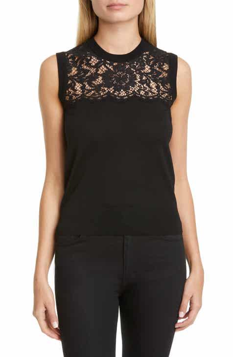 Dolce&Gabbana Lace Panel Wool Blend Shell