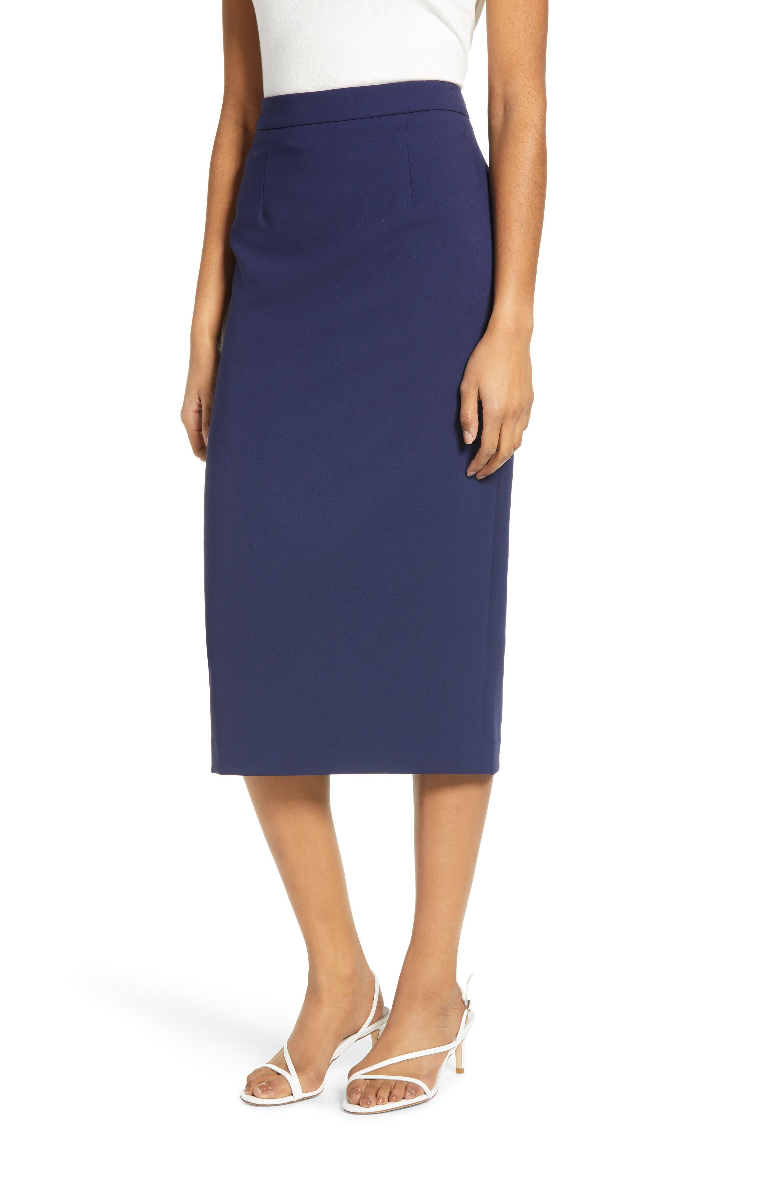 Sandro Womens Skirt Size 1 Navy Blue Floral Straight Knee Length Silk Casual