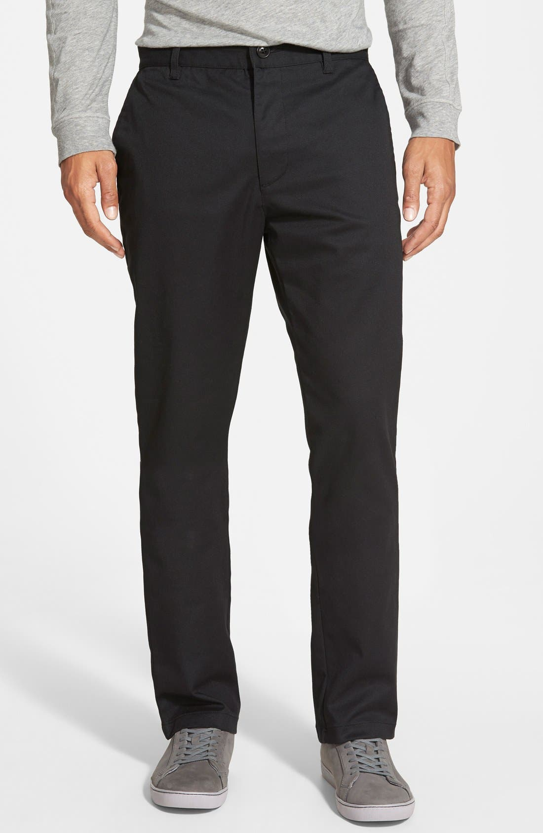 'The Week-End' Slim Straight Leg Stretch Twill Chinos,                             Main thumbnail 1, color,                             Black