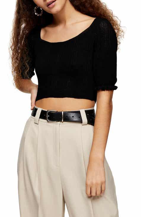 Topshop Frill Sleeve Crop Sweater