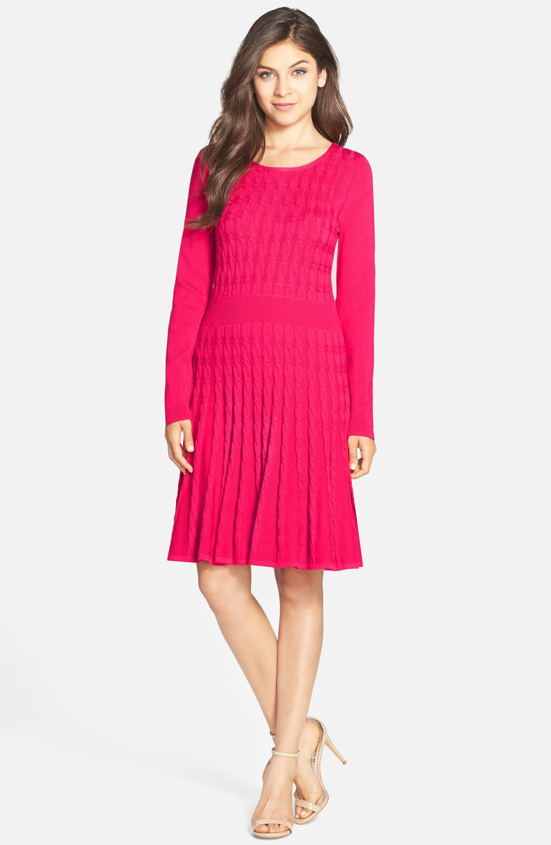 Main Image - Eliza J Cable Knit Sweater Dress