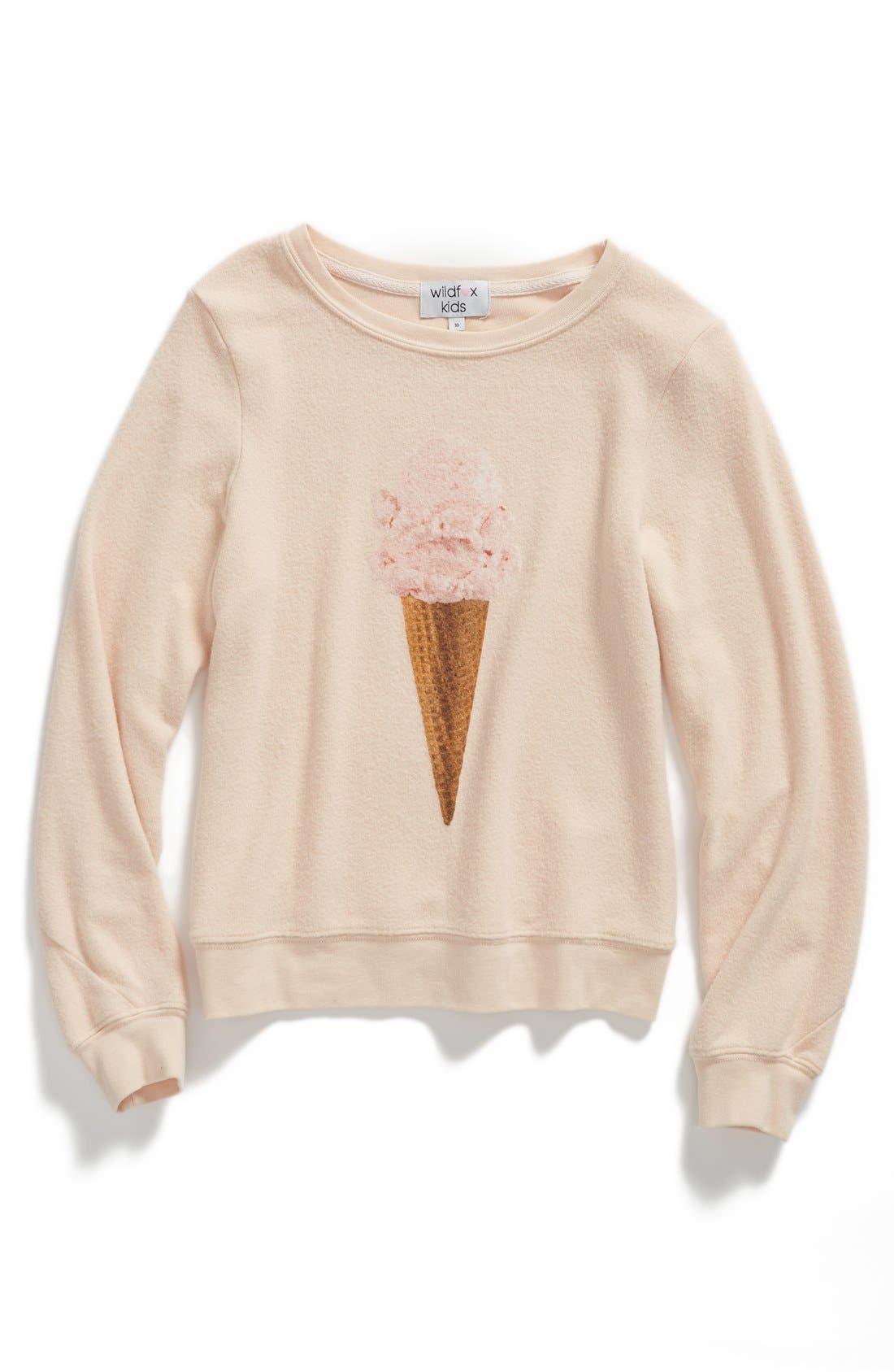 Alternate Image 1 Selected - Wildfox 'Breakfast - Baggy Beach Jumper' Sweatshirt (Little Girls & Big Girls)