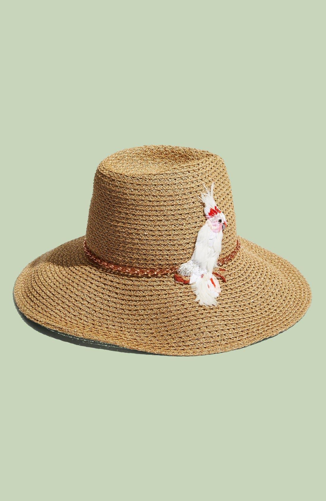 'Emmanuelle' Cockatoo Ornament Straw Hat,                             Main thumbnail 1, color,                             Camel