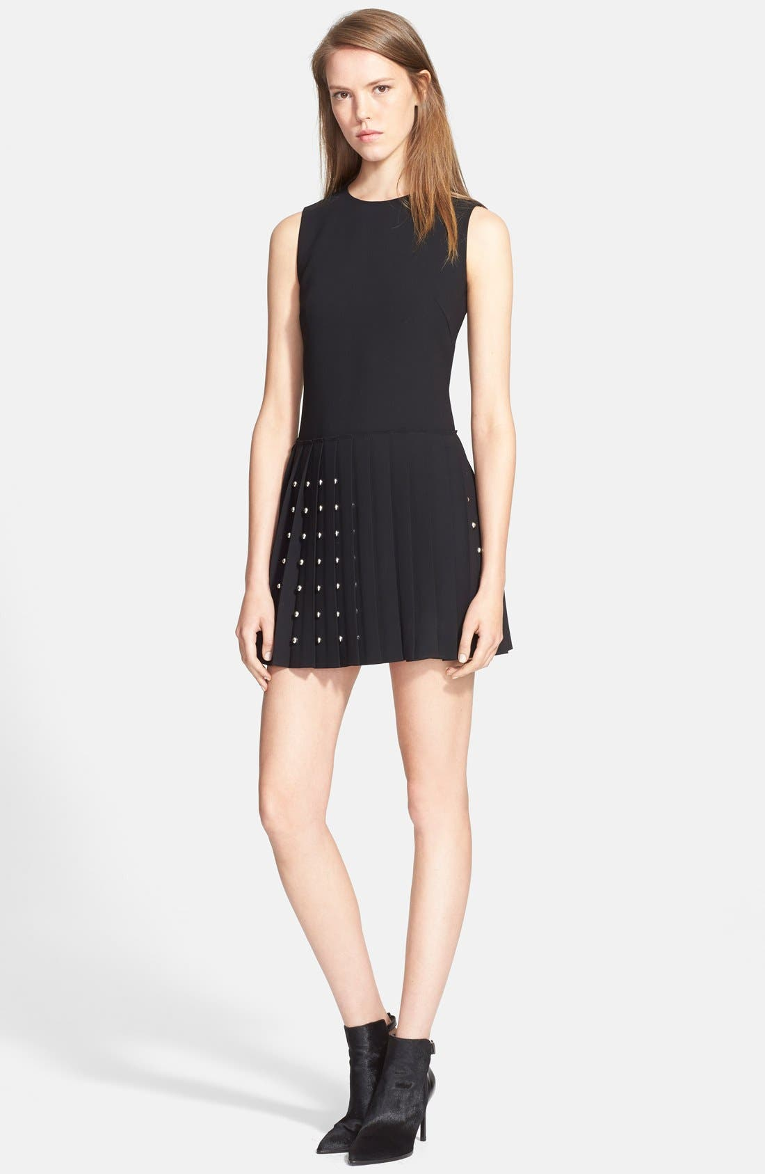Main Image - McQ by Alexander McQueen Studded Pleated Fit & Flare Dress
