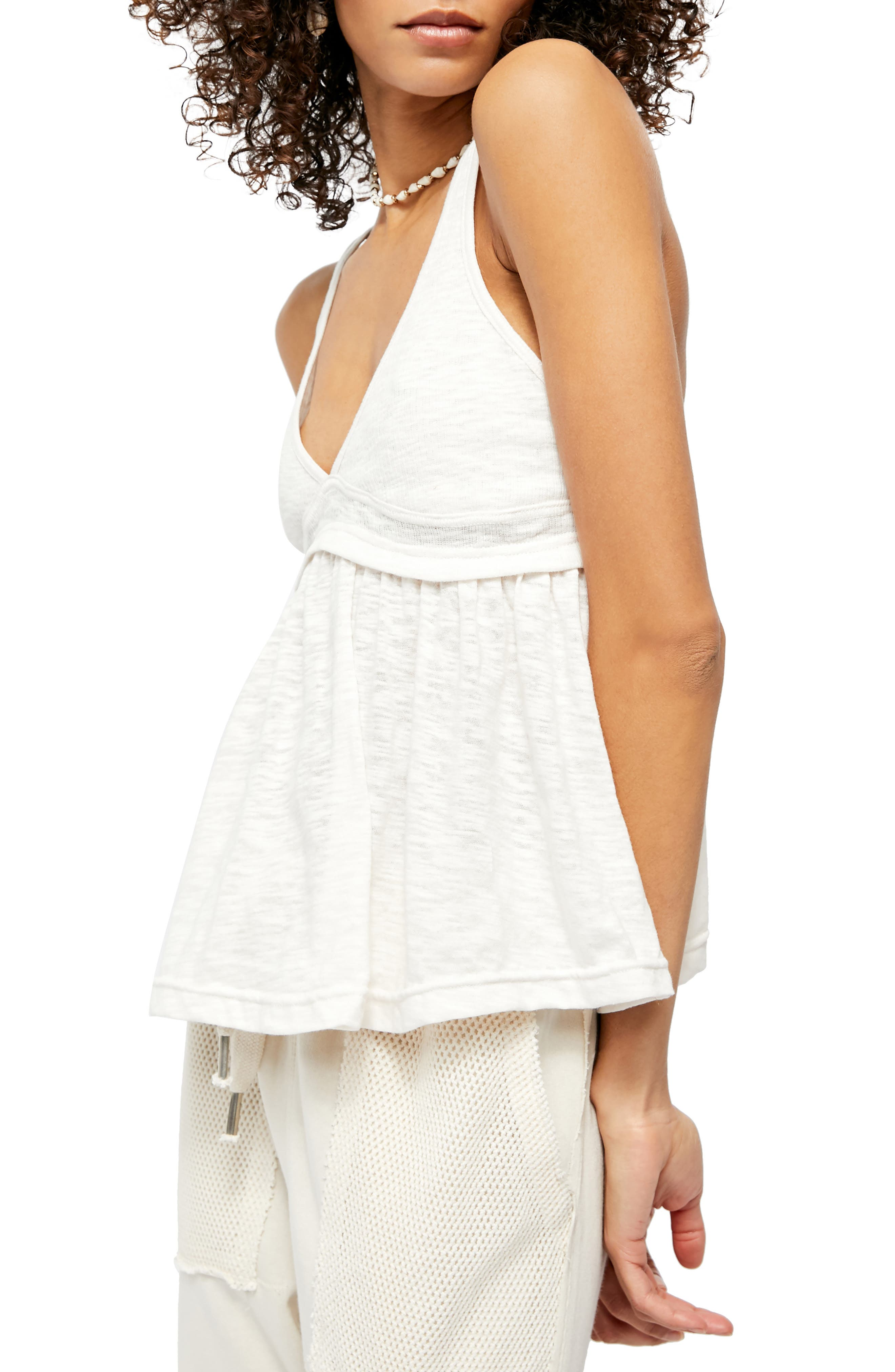 Free People Ladies Ribbed Cotton Blend Crew  Natural with Metallic Silver NEW