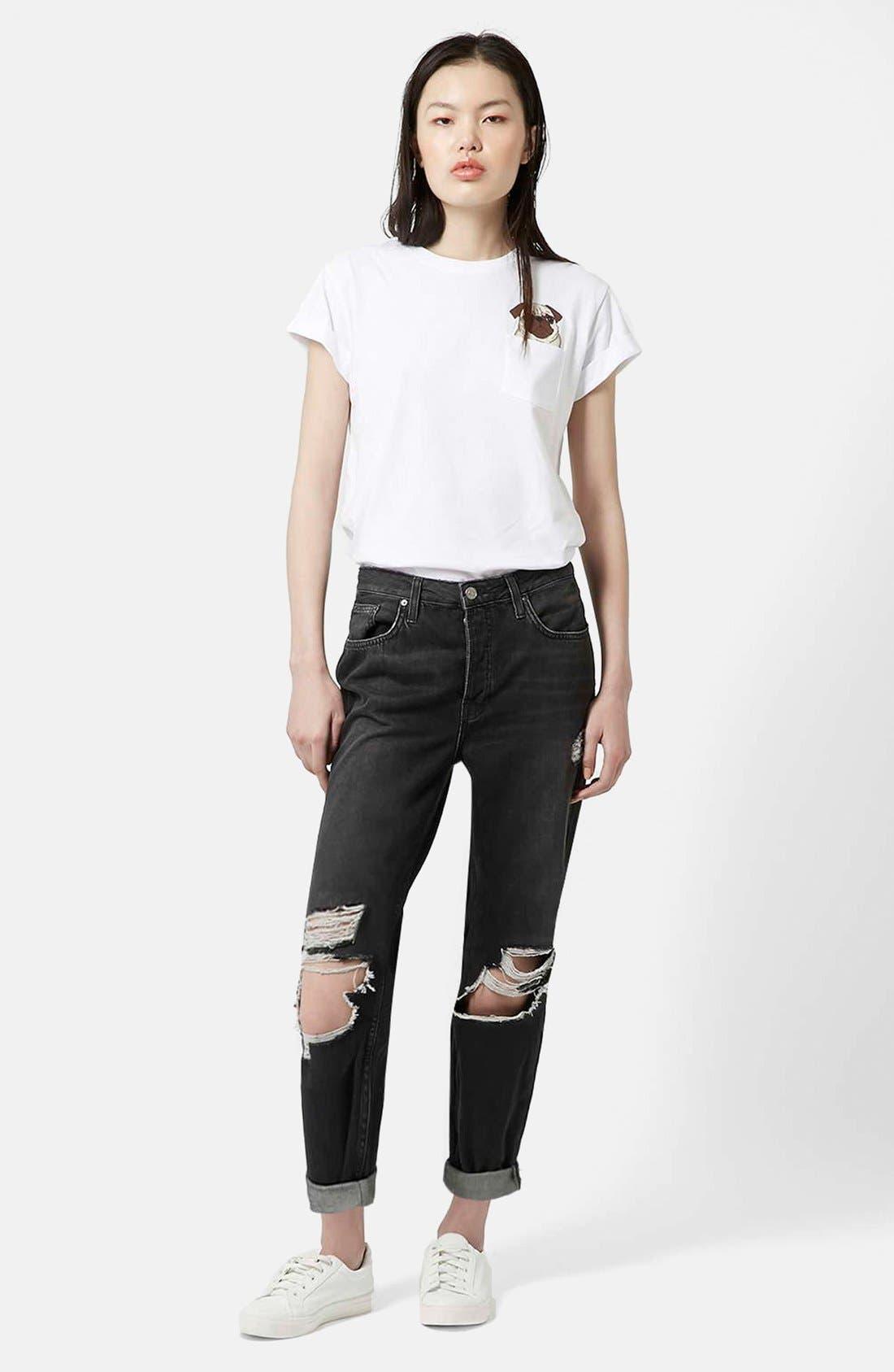 Alternate Image 5  - Topshop Moto 'Hayden' Ripped Boyfriend Jeans (Black)