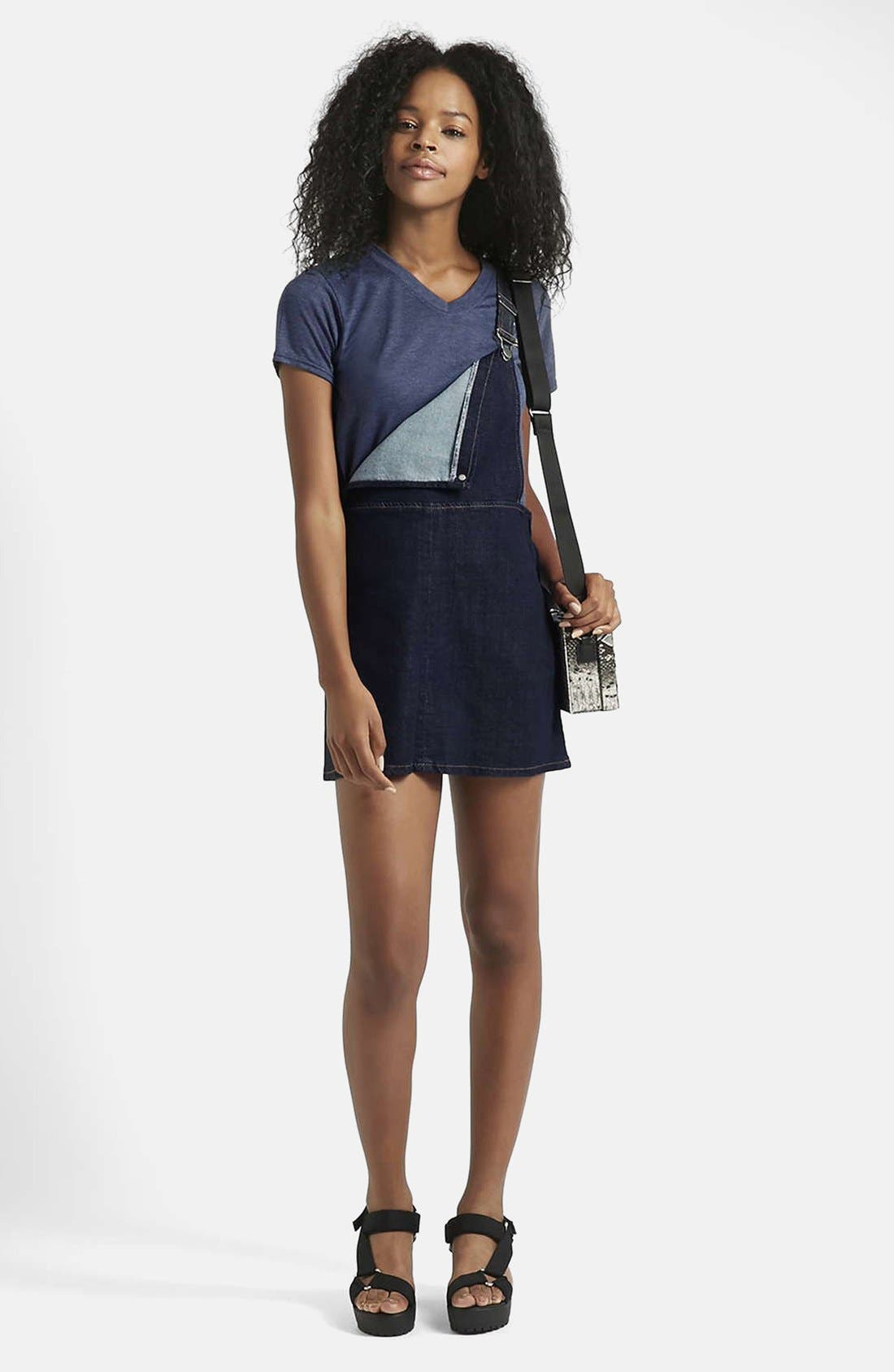 Alternate Image 4  - Topshop Moto Denim Pinafore Dress (Petite)