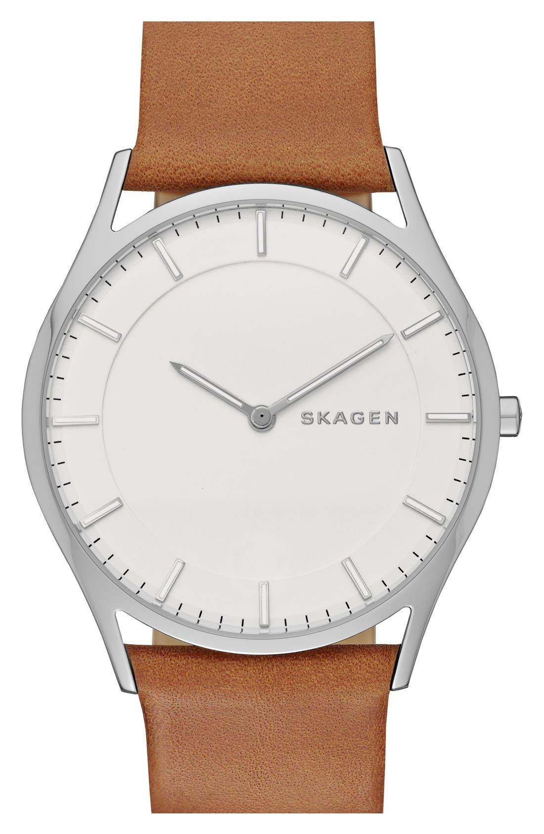 Alternate Image 1 Selected - Skagen 'Holst' Leather Strap Watch, 40mm