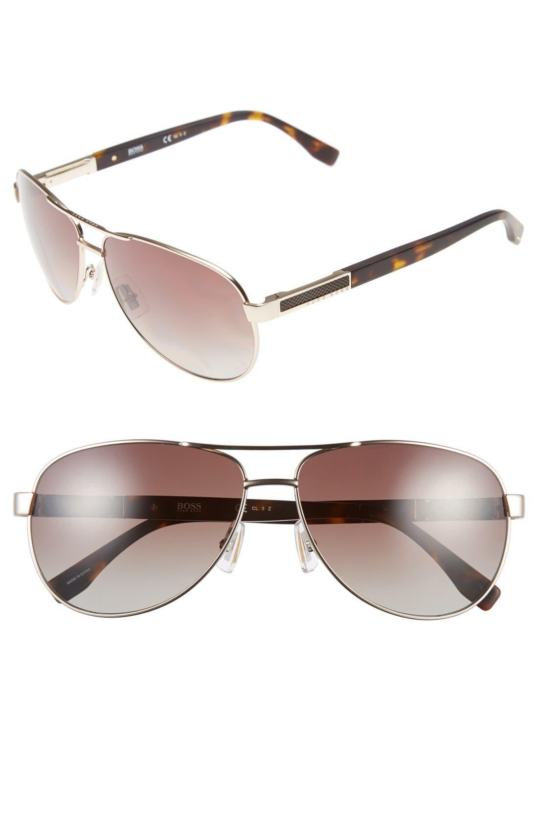 62mm Polarized Aviator Sunglasses,                         Main,                         color, Semi Matte Light Gold/ Brown