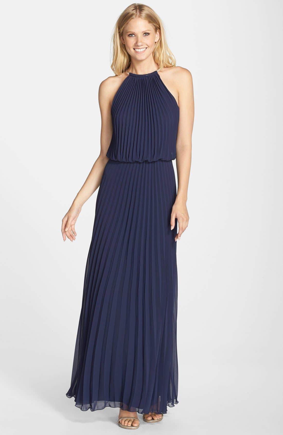 Pleat Cutaway Blouson Dress,                         Main,                         color, New Navy