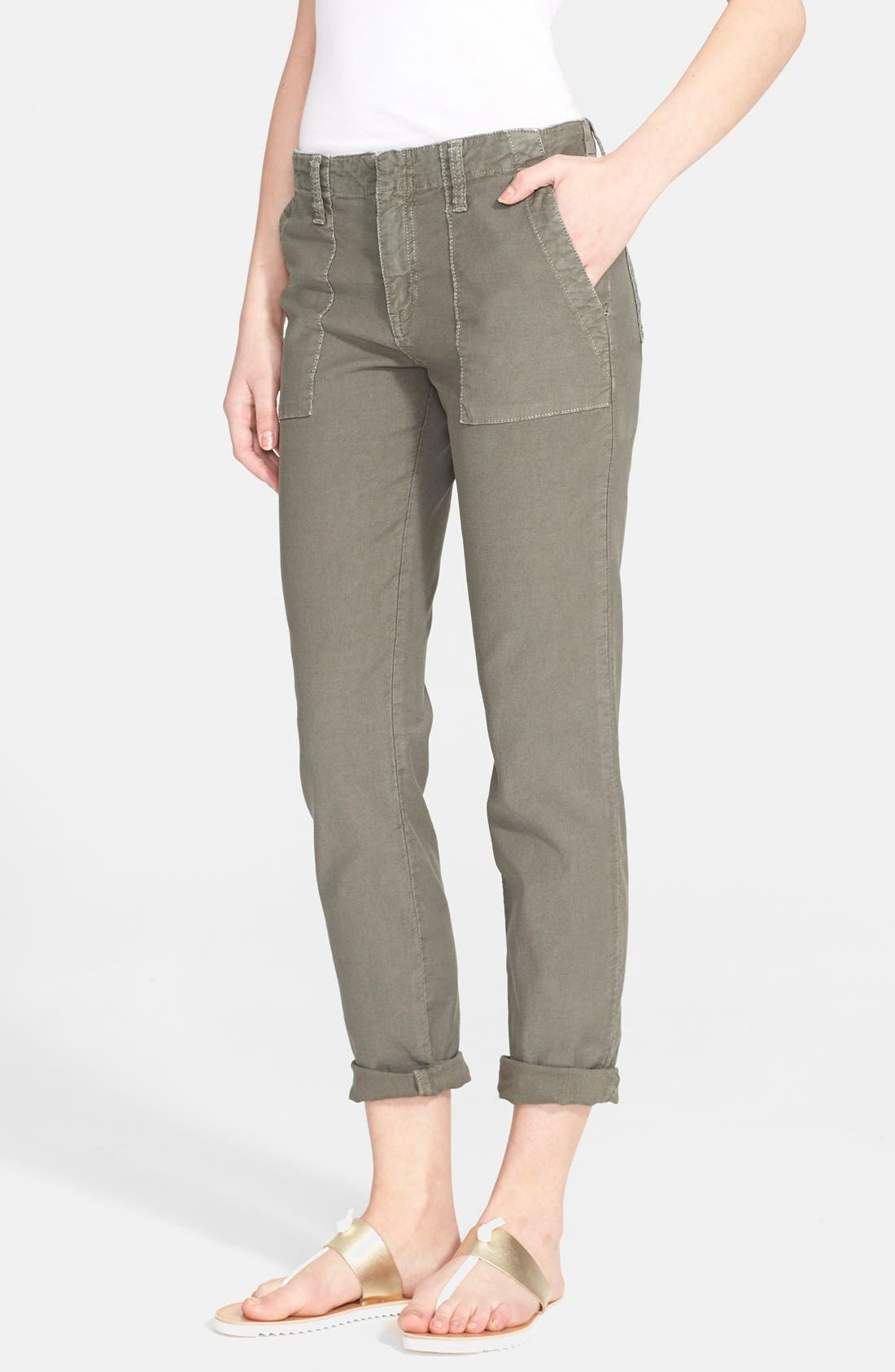 Painter Cotton & Linen Pants,                             Main thumbnail 1, color,                             Fatigue