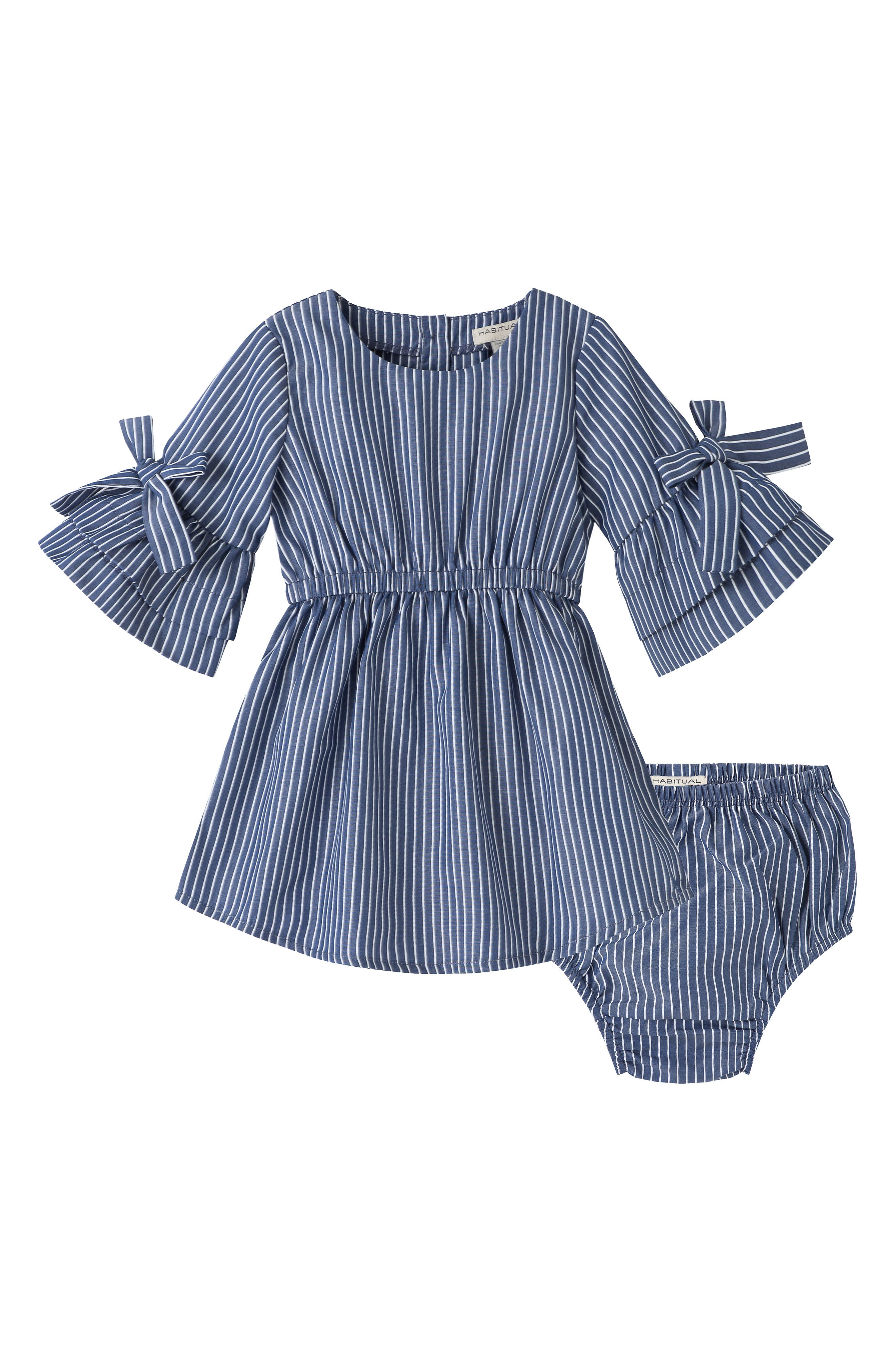 Newborn Baby Infant Girl Striped Sleeveless Dresses Party Birthday Dress Clothes