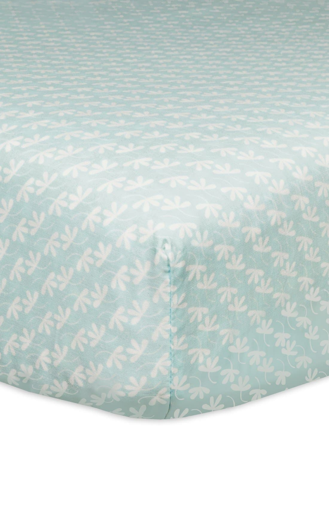 'Flora' Crib Sheet, Crib Skirt, Stroller Blanket & Wall Decals,                             Alternate thumbnail 2, color,                             Blue