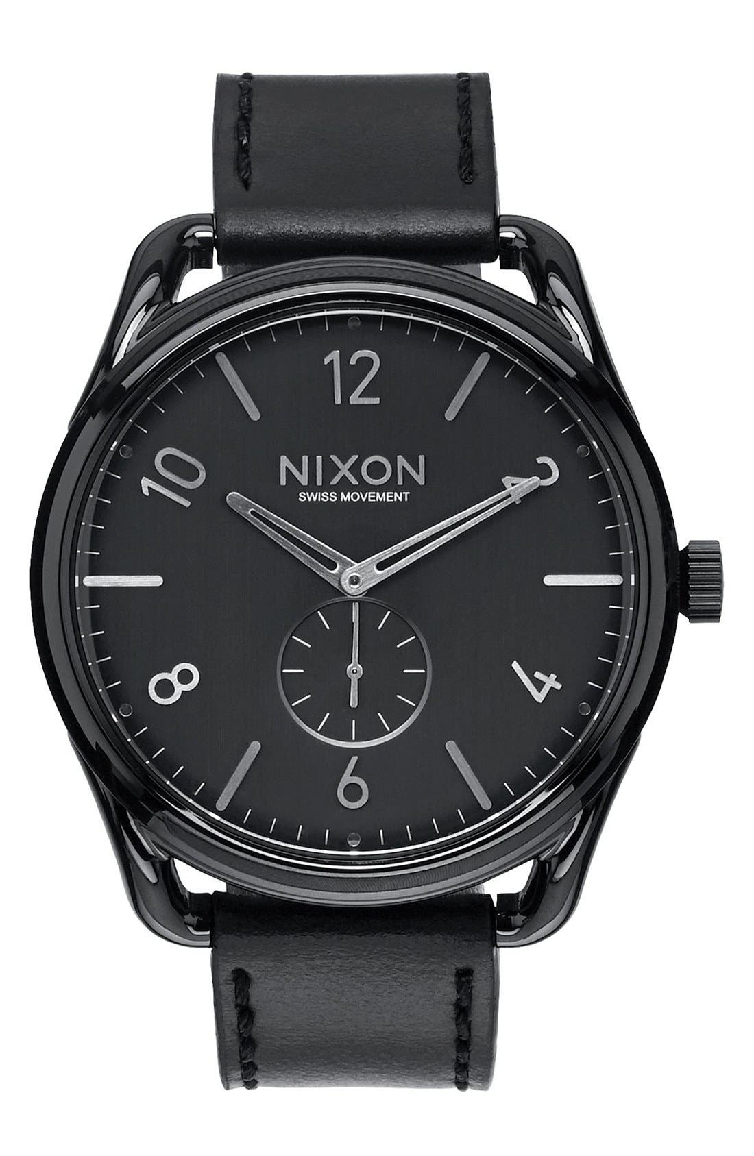 'The C45' Leather Strap Watch, 47mm,                         Main,                         color, Black