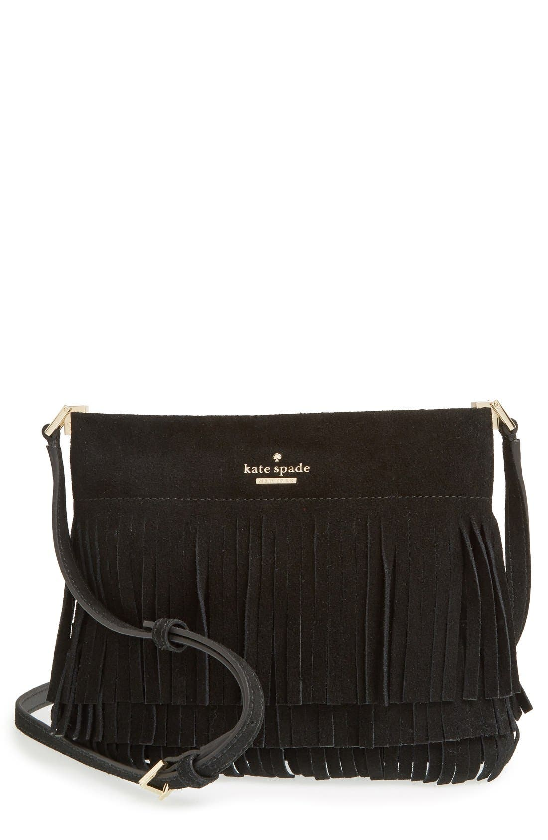 Alternate Image 1 Selected - kate spade new york 'sycamore run - cristi' suede fringe crossbody bag