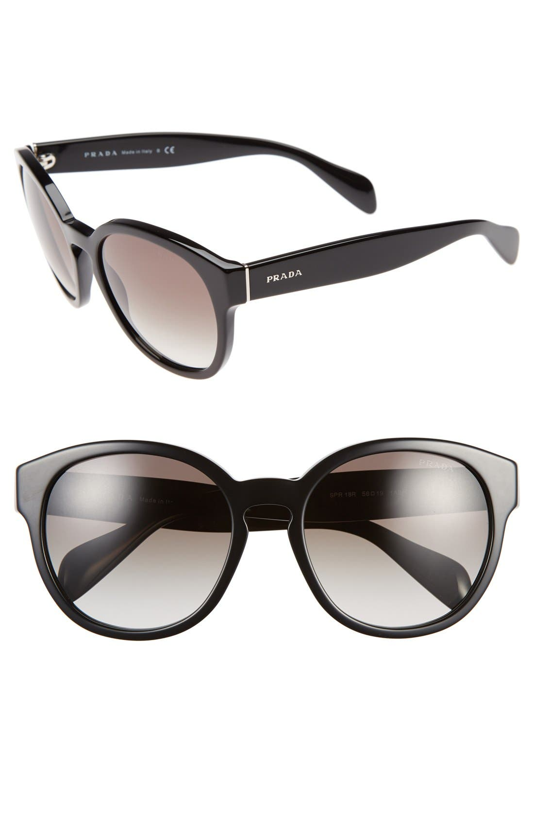 56mm Keyhole Sunglasses,                             Main thumbnail 1, color,                             Black