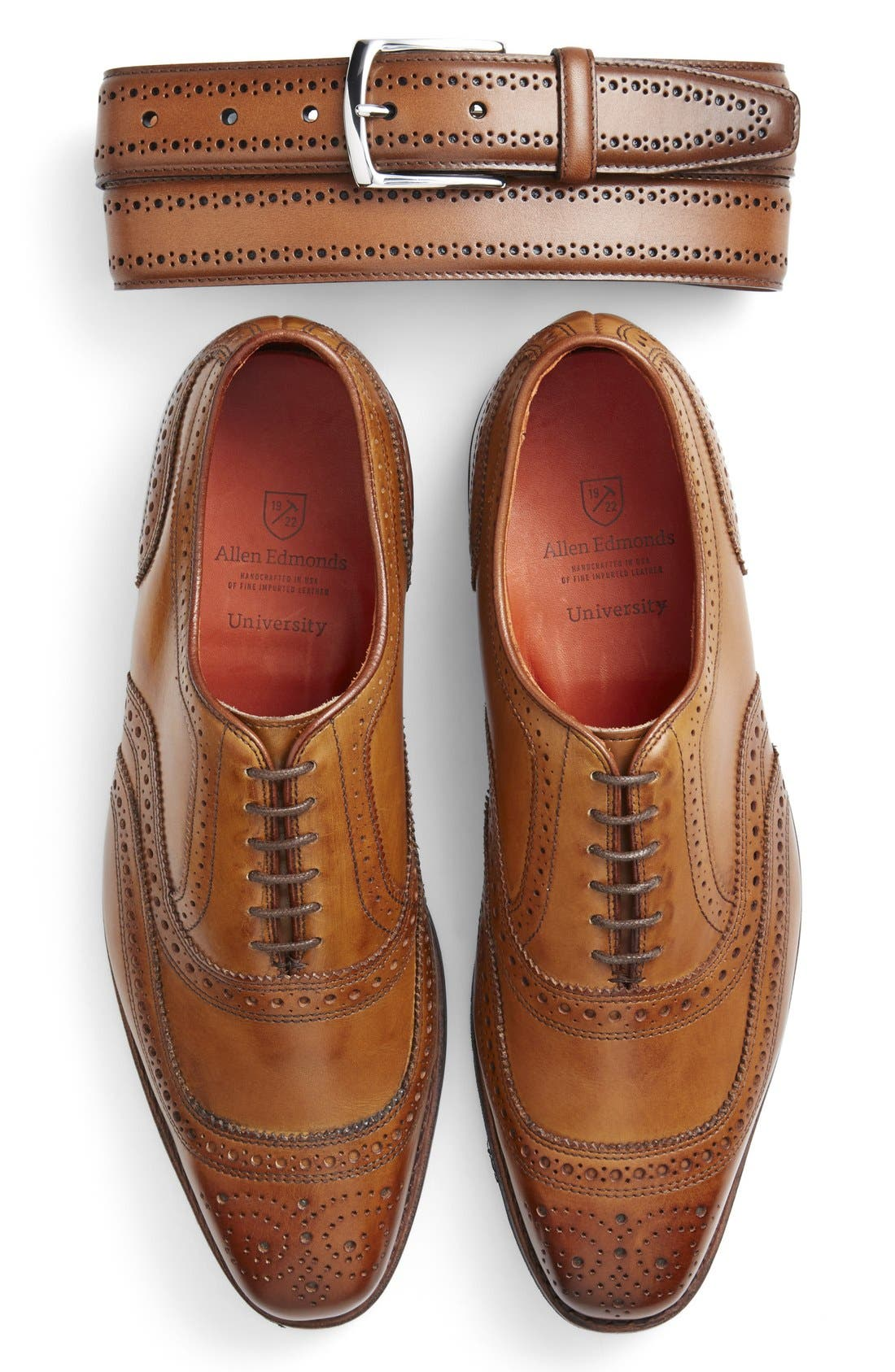 Allen Edmonds Brogue Leather Belt & Wingtip (Men)