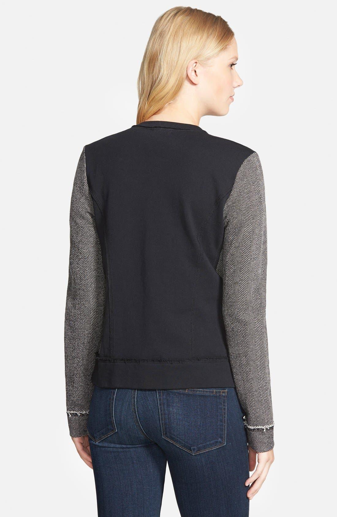Alternate Image 2  - Caslon® Mixed Knit Bomber Jacket