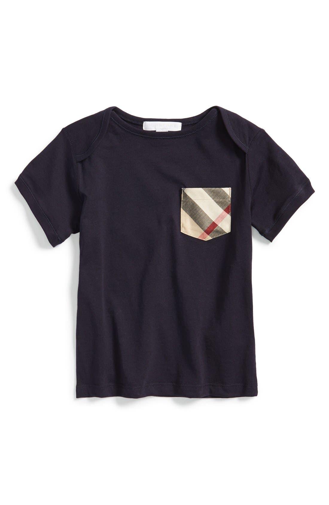 BURBERRY Callum Check Print Chest Pocket Cotton T-Shirt