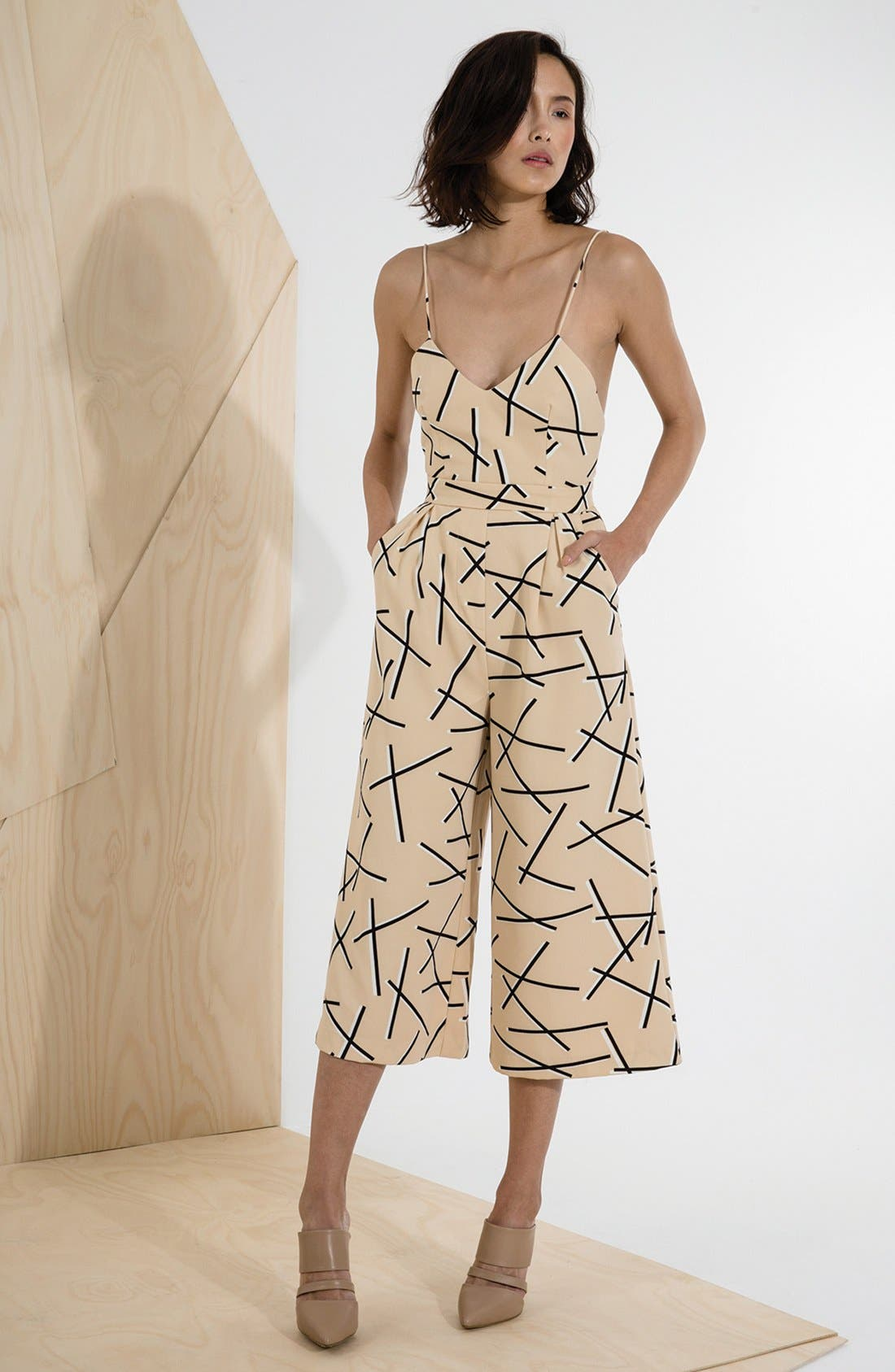 'Power Trip' Culotte Jumpsuit,                             Alternate thumbnail 4, color,                             Geo Beige