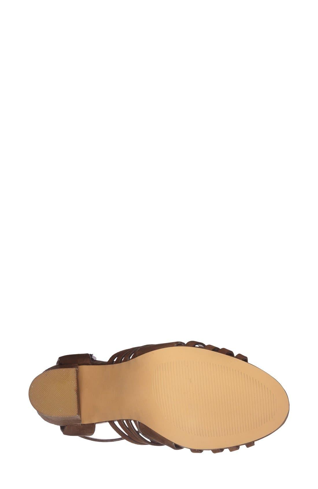 'Sandrina' Huarache Sandal,                             Alternate thumbnail 4, color,                             Brown Leather