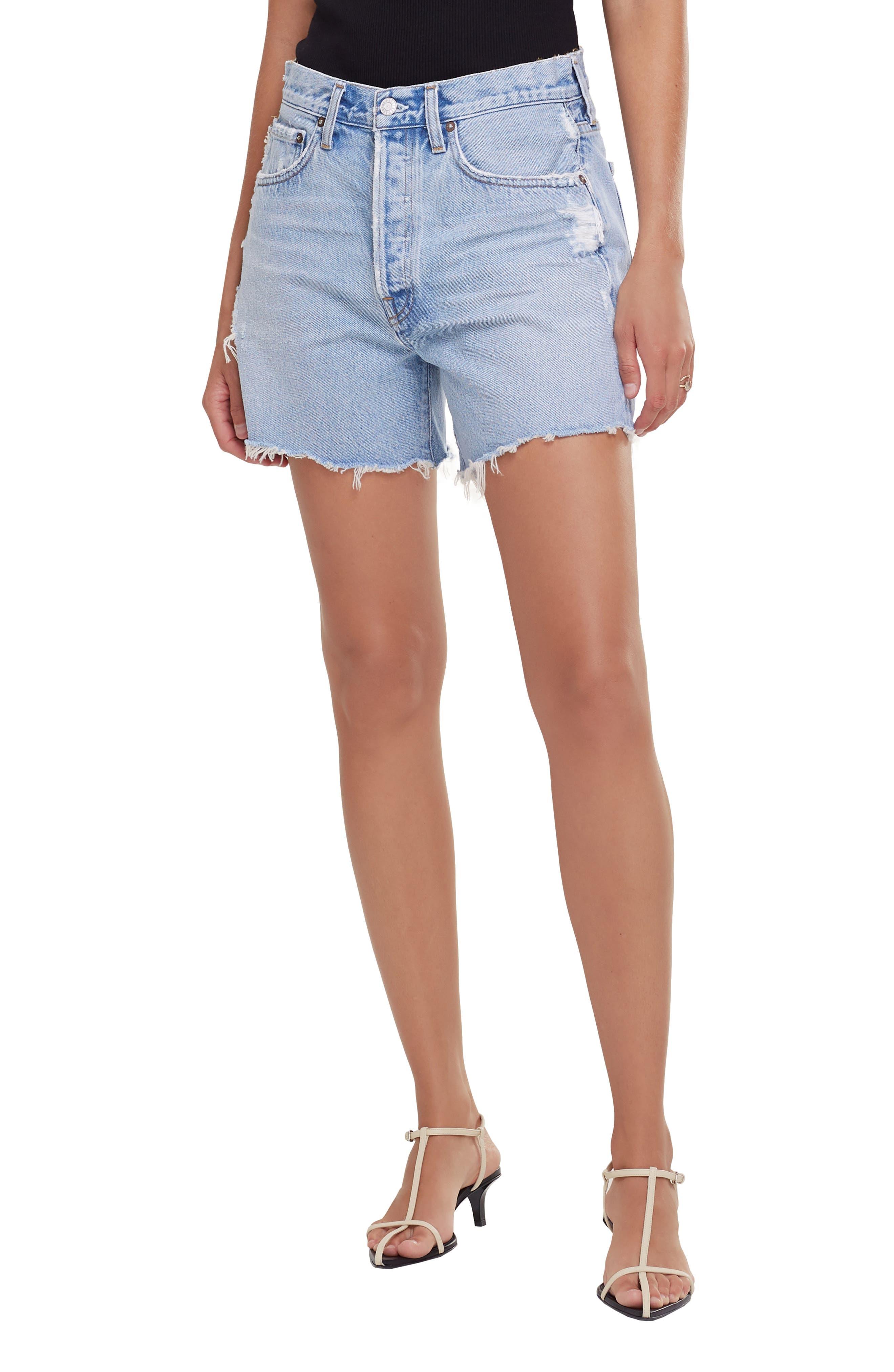 White Light Orange Floral Butterfly Print denim Shorts Womens High Waisted Shorts Jeans Shorts Medium Size