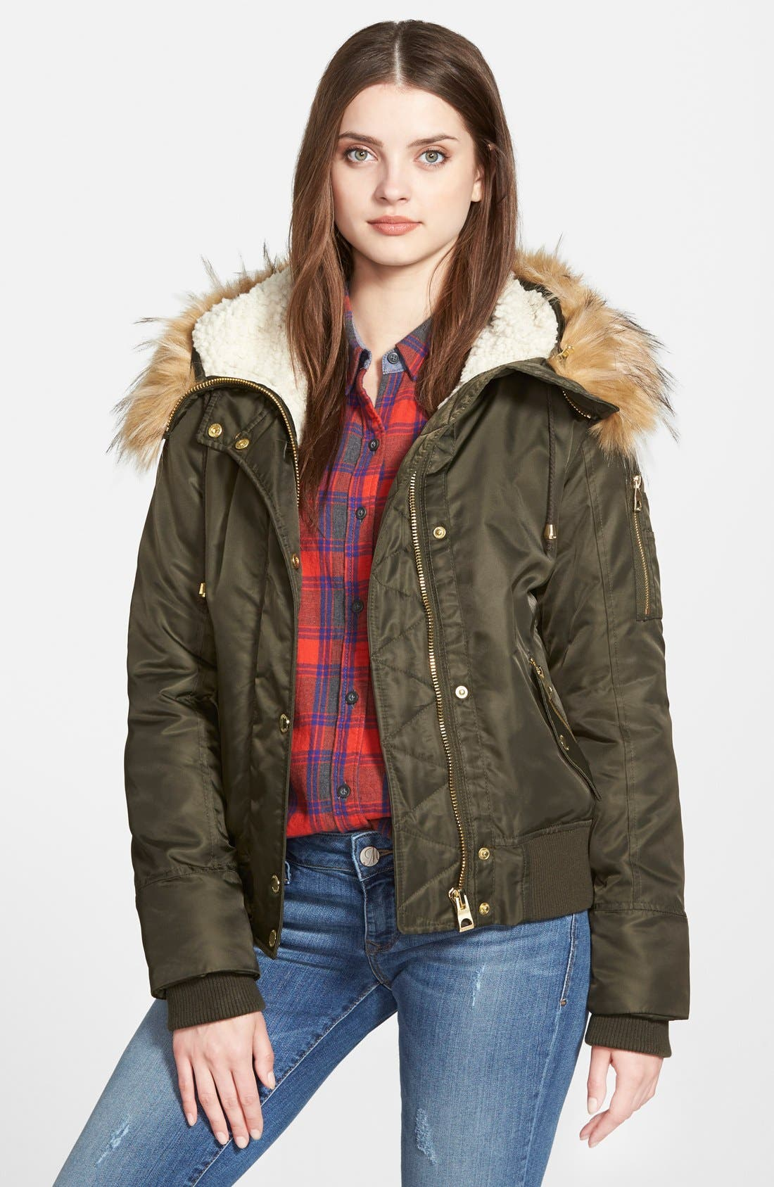 Main Image - GUESS Hooded Satin Bomber Jacket with Faux Fur Trim & Faux Shearling Lining