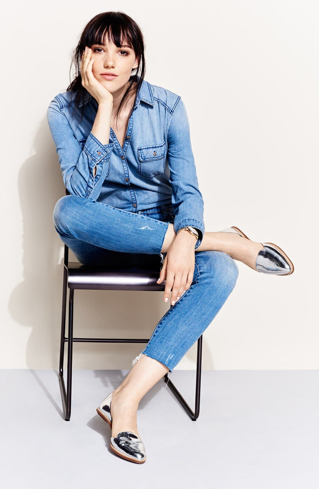 Chambray Boyfriend Shirt,                             Alternate thumbnail 2, color,