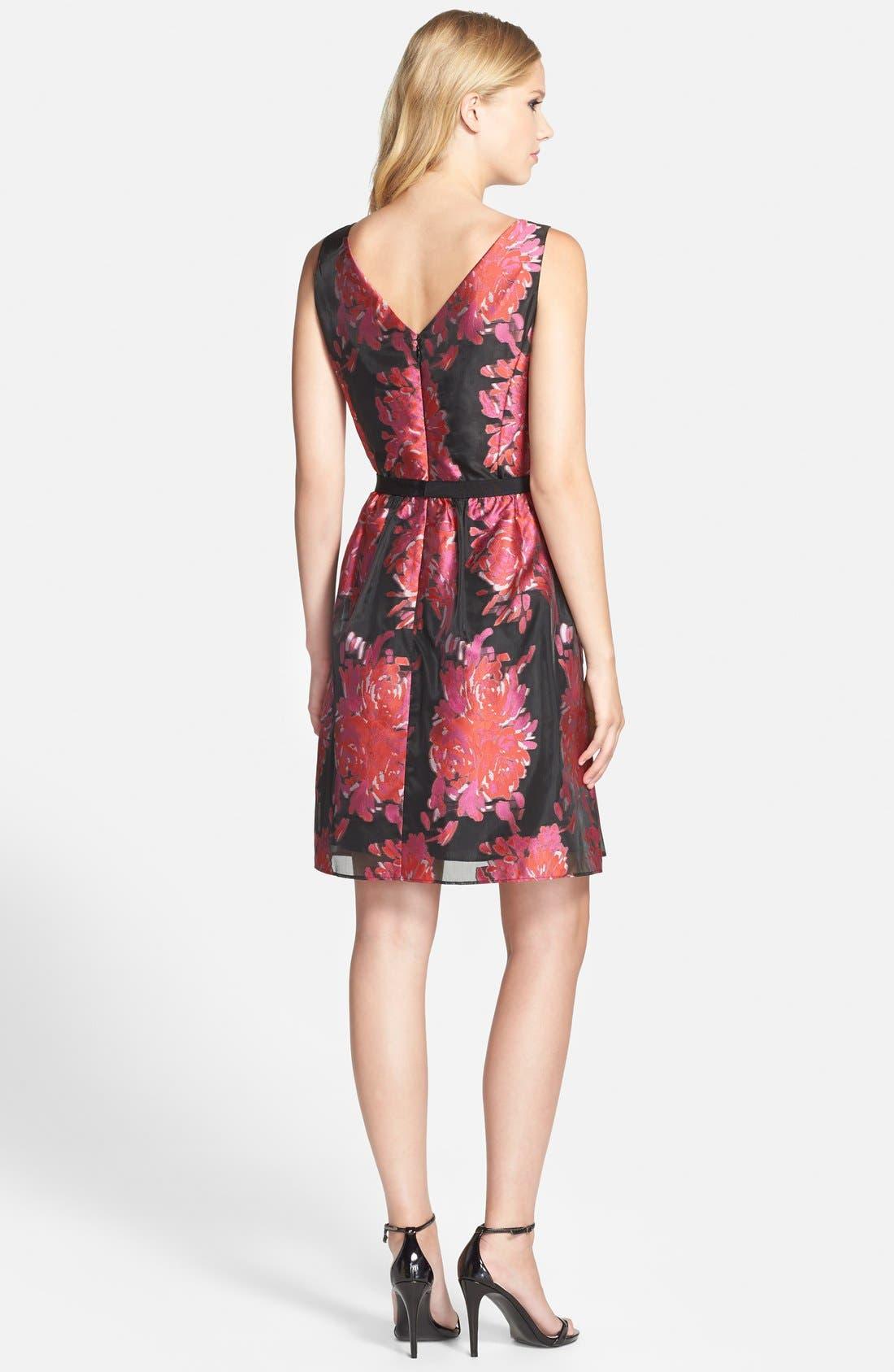 Alternate Image 2  - Taylor Dresses Floral Burnout Organza Fit & Flare Dress