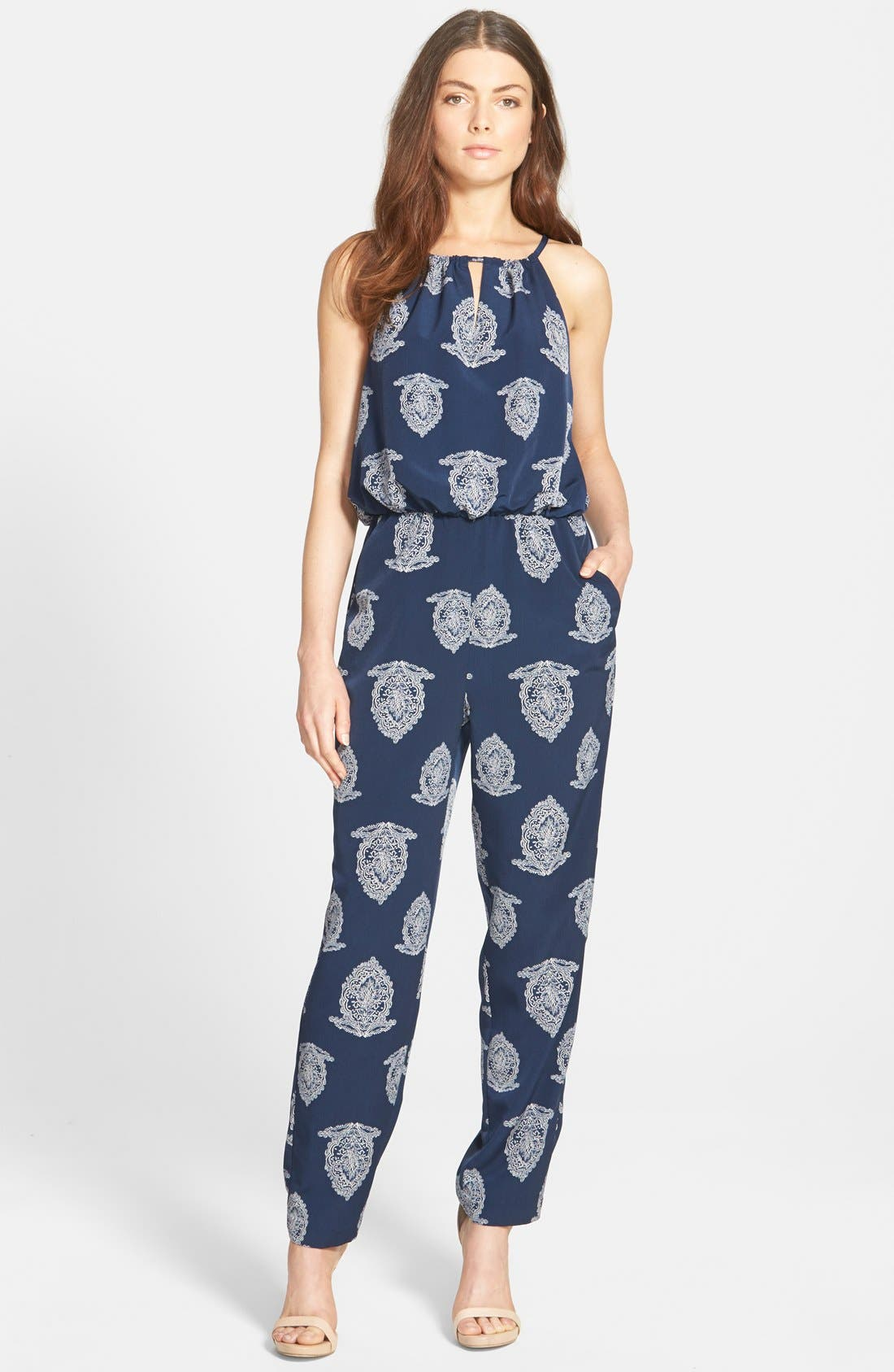 Sleeveless Jumpsuit,                         Main,                         color, Navy