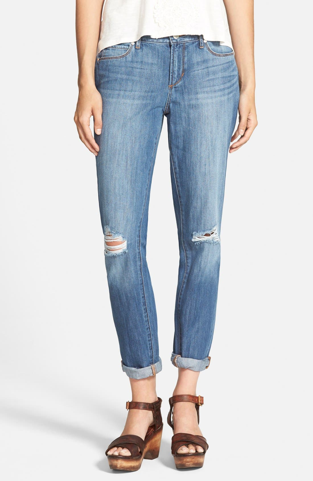 Main Image - Articles of Society 'Cindy' Boyfriend Jeans (Medium Wash)