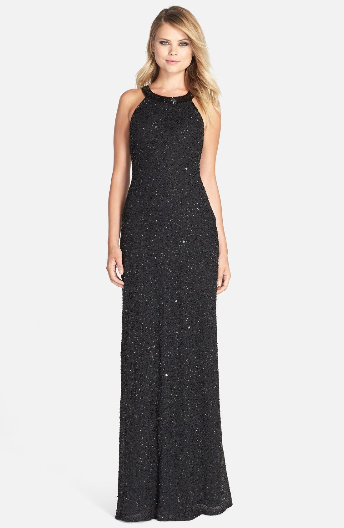 Illusion Back Sequin & Bead Gown,                         Main,                         color, Black