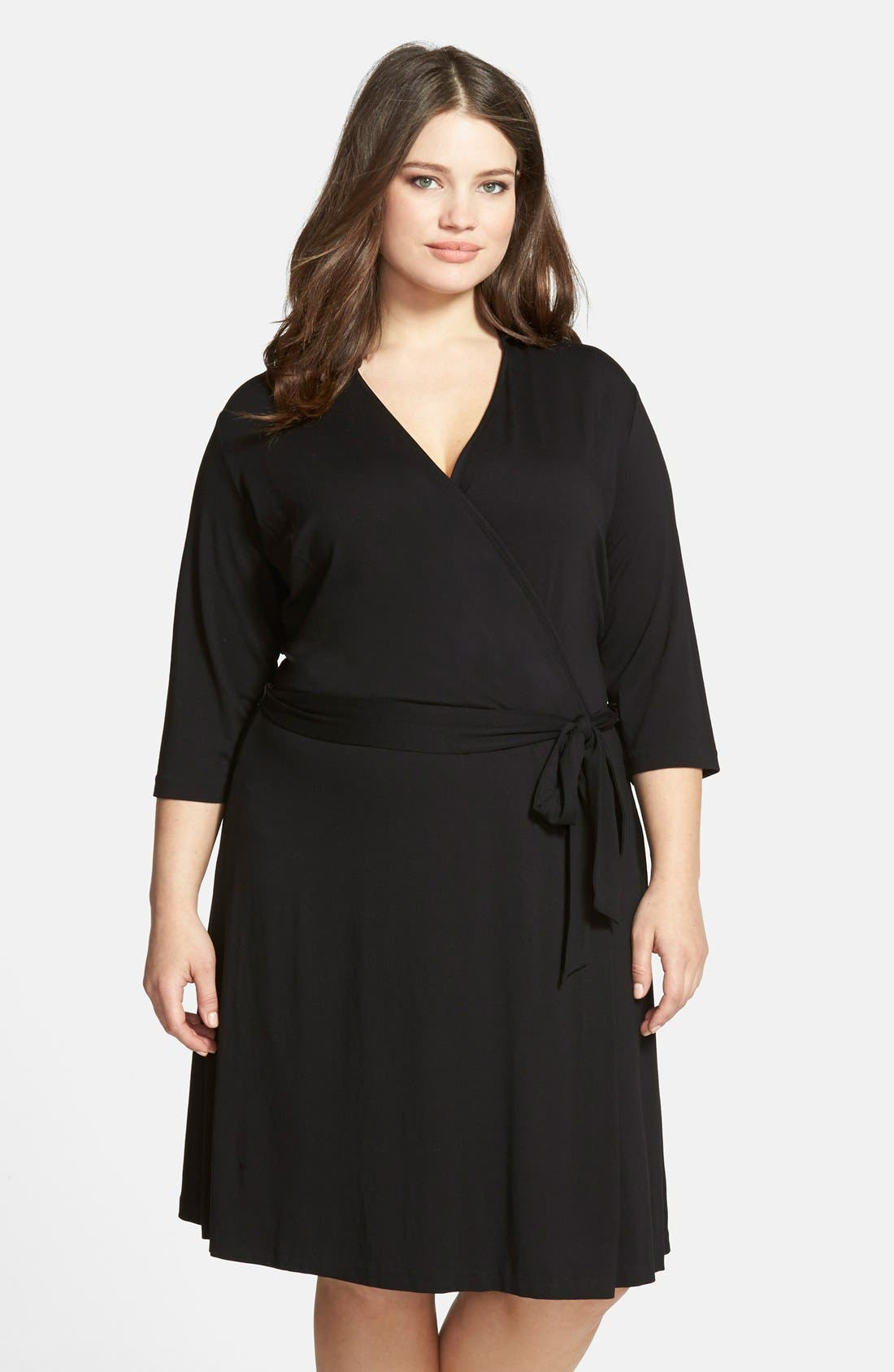 Alternate Image 1 Selected - Vince Camuto Jersey Faux Wrap Dress (Plus Size)