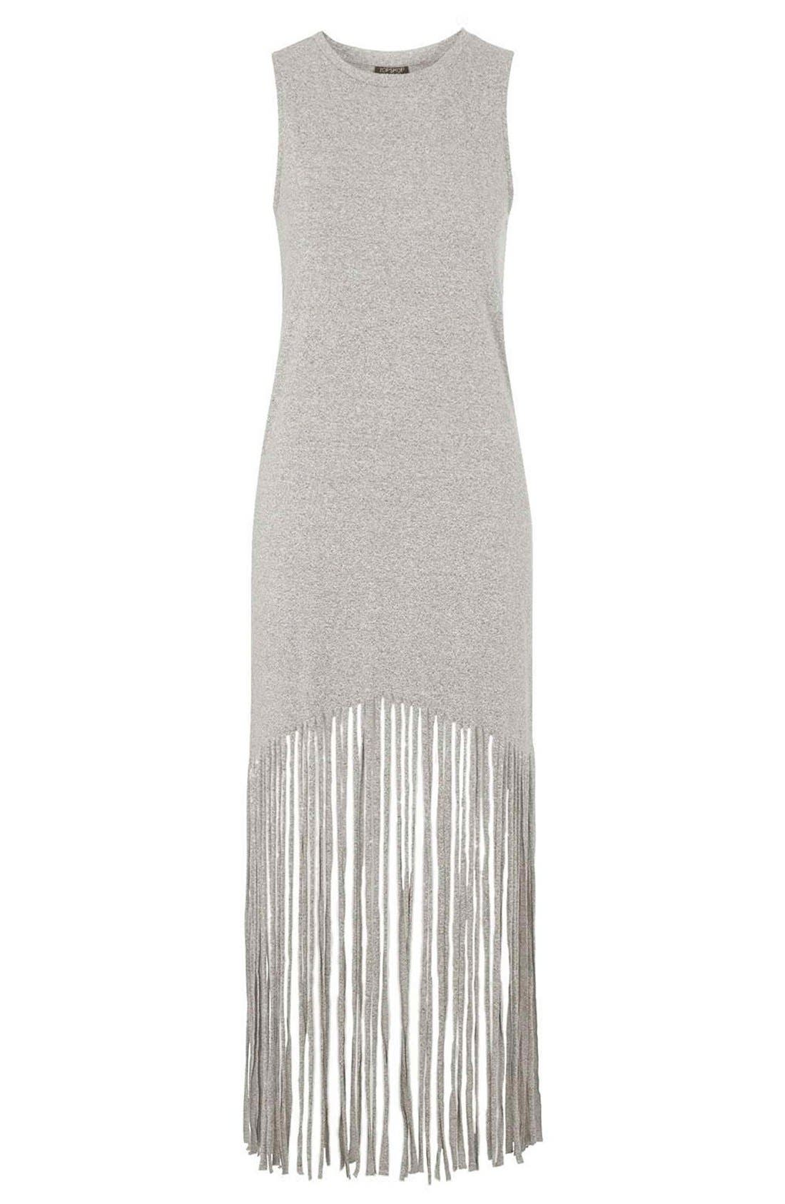 Sleeveless Fringe Dress,                             Alternate thumbnail 3, color,                             Grey