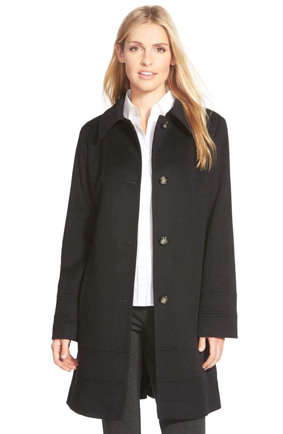 Alternate Image 1 Selected - Fleurette Wool Spread Collar Coat (Regular & Petite)