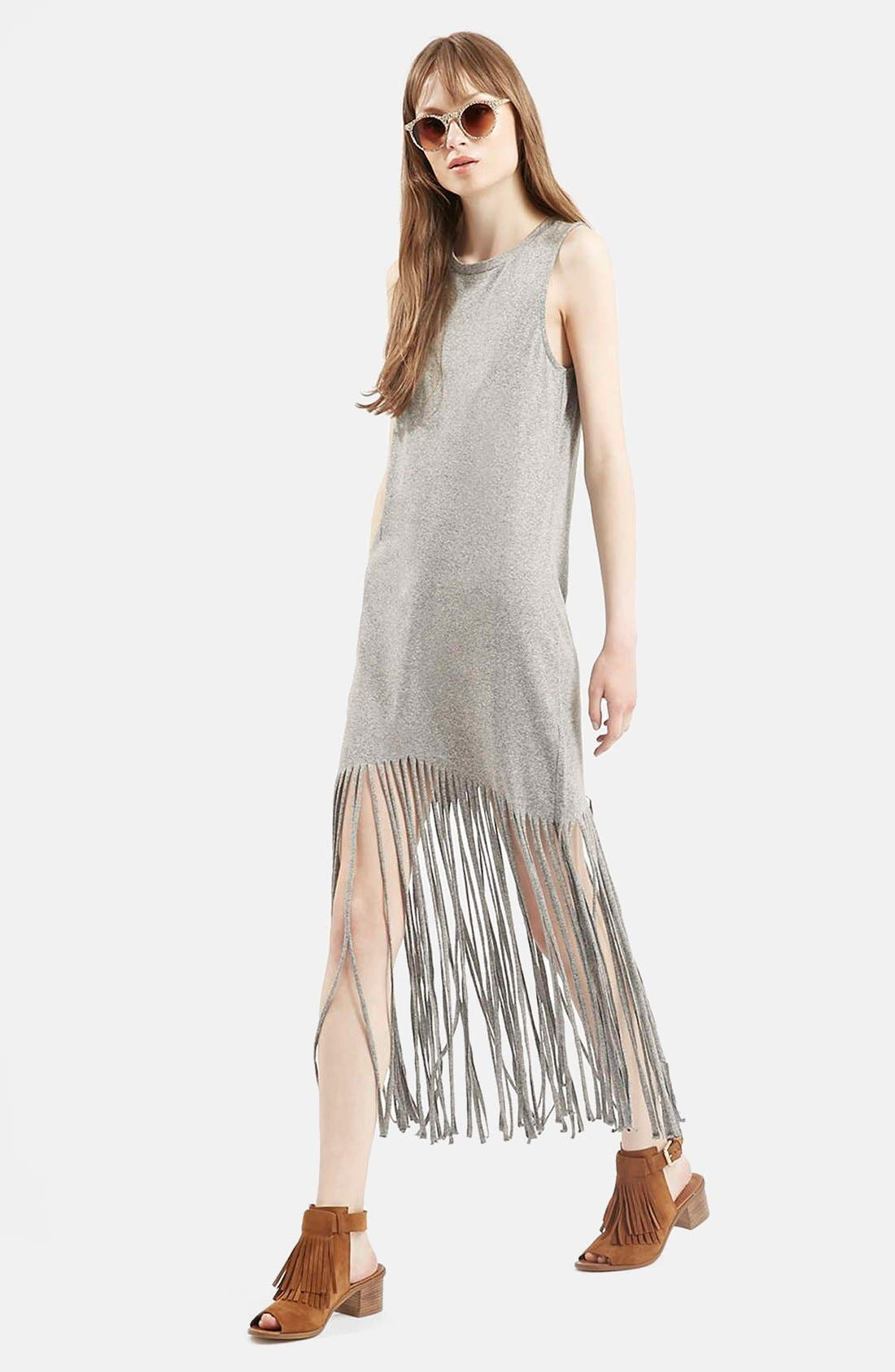 Sleeveless Fringe Dress,                             Main thumbnail 1, color,                             Grey