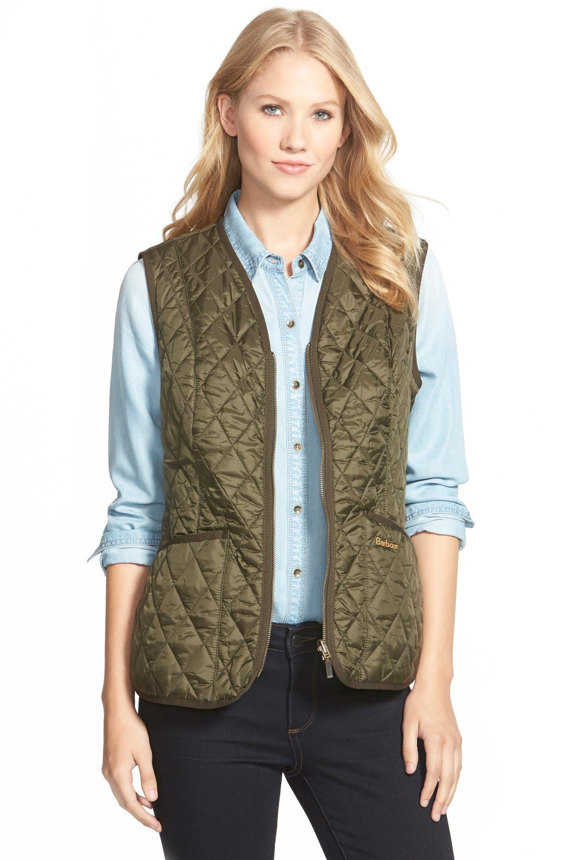 'Beadnell' Quilted Liner,                         Main,                         color, Olive