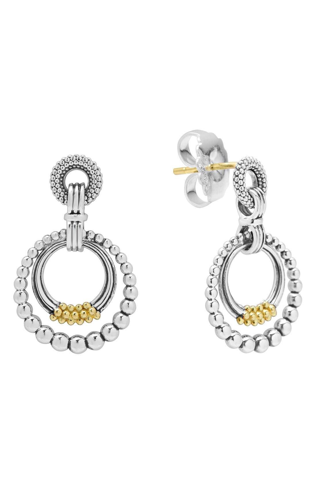 Caviar 'Superfine' Two-Tone Door Knocker Earrings,                             Main thumbnail 1, color,                             Silver/ Gold