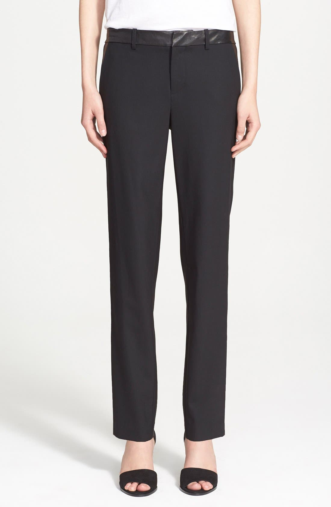 'Strapping' Leather Trim Trousers,                         Main,                         color, Black