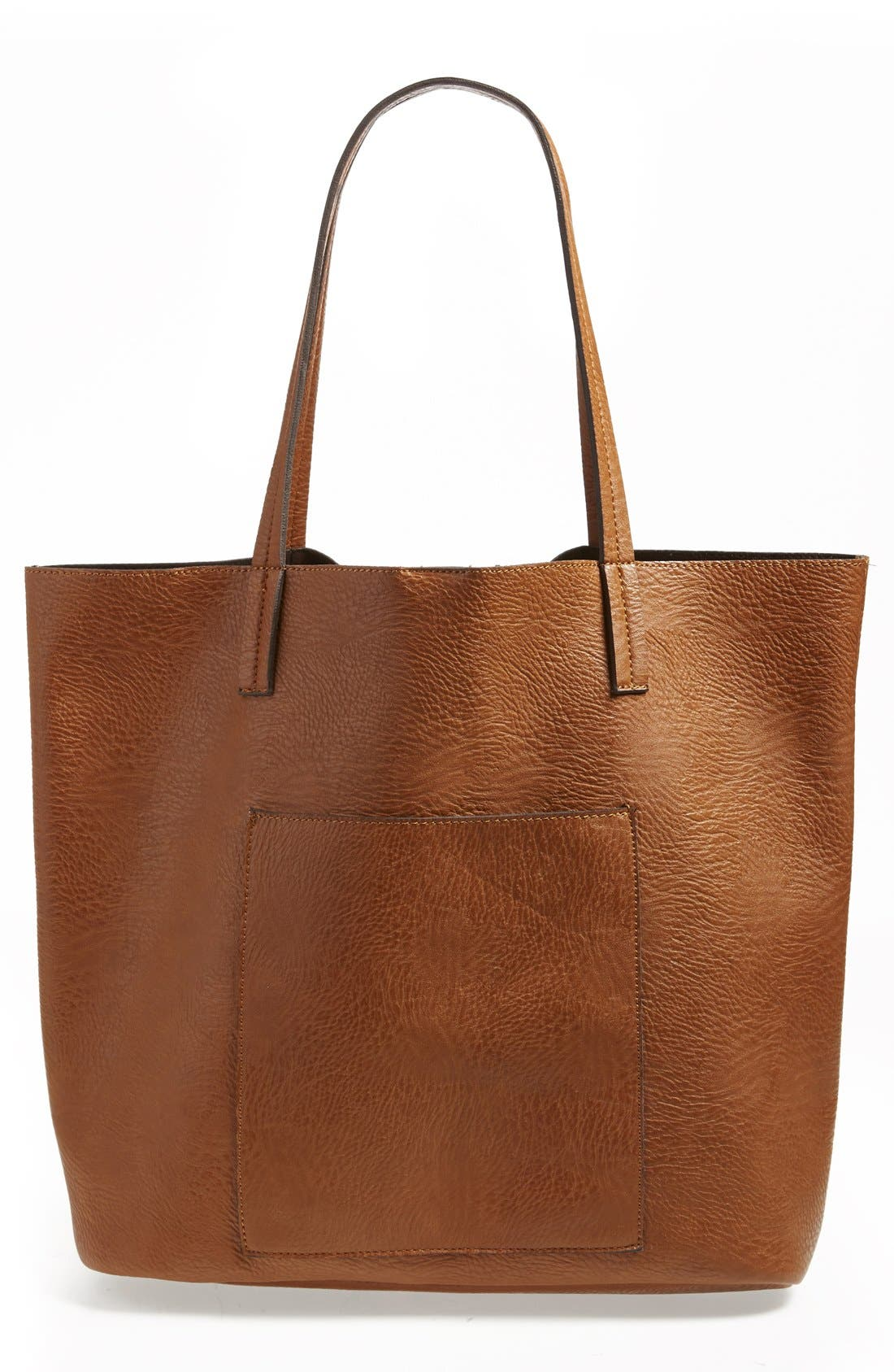 Faux Leather Pocket Tote,                         Main,                         color, Cognac