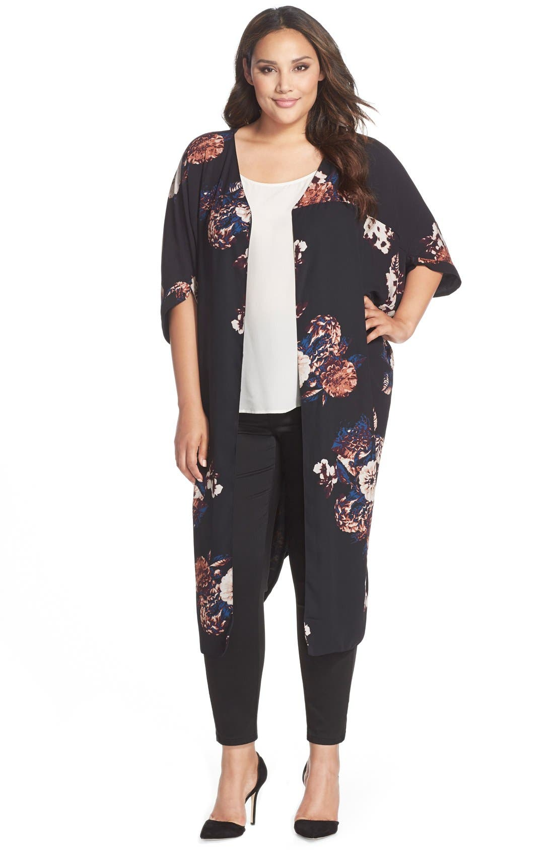Alternate Image 1 Selected - Melissa McCarthy Seven7 Print Reversible Kimono (Plus Size)