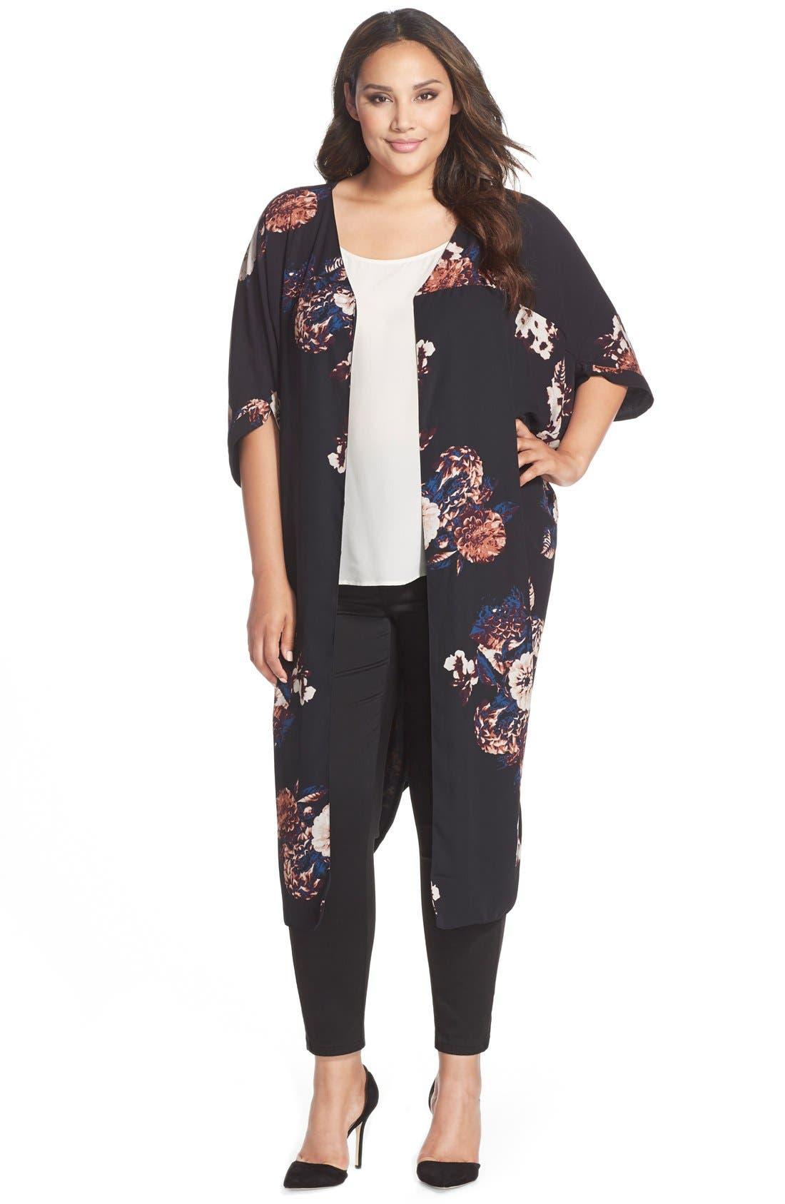 Print Reversible Kimono,                         Main,                         color, Black/ Floral Print