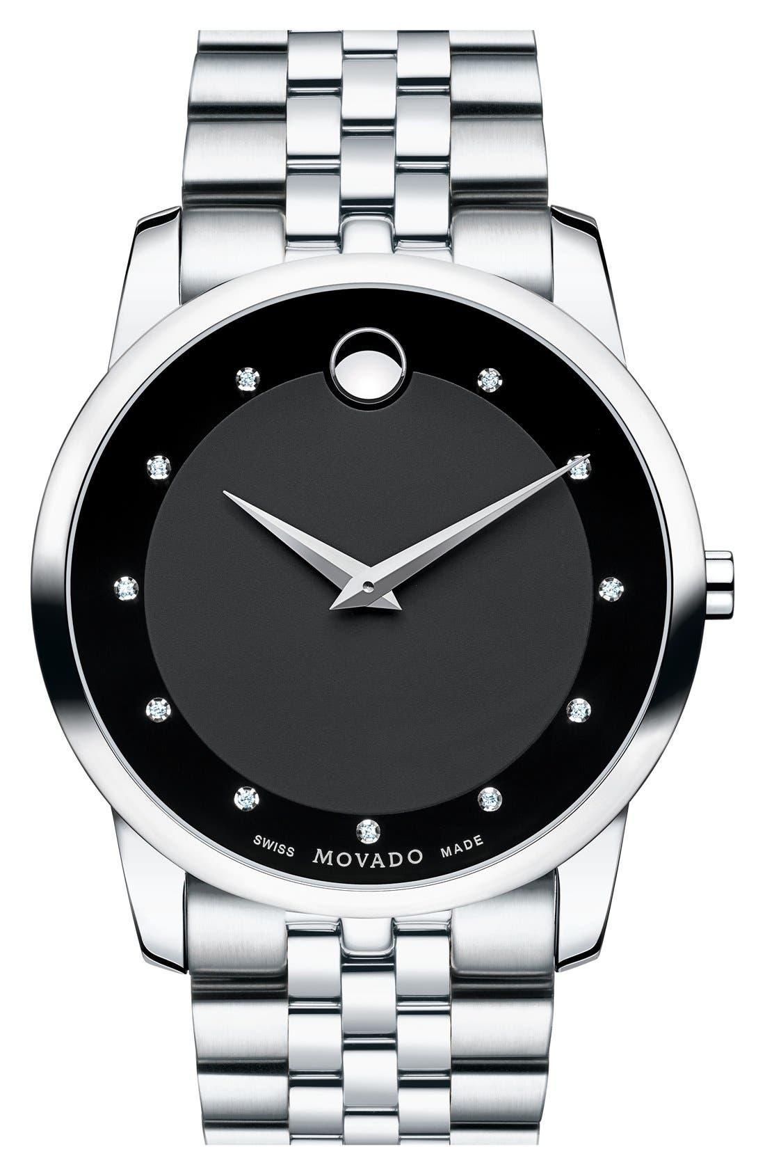 'Museum' Bracelet Watch, 40mm,                         Main,                         color, Silver/ Black