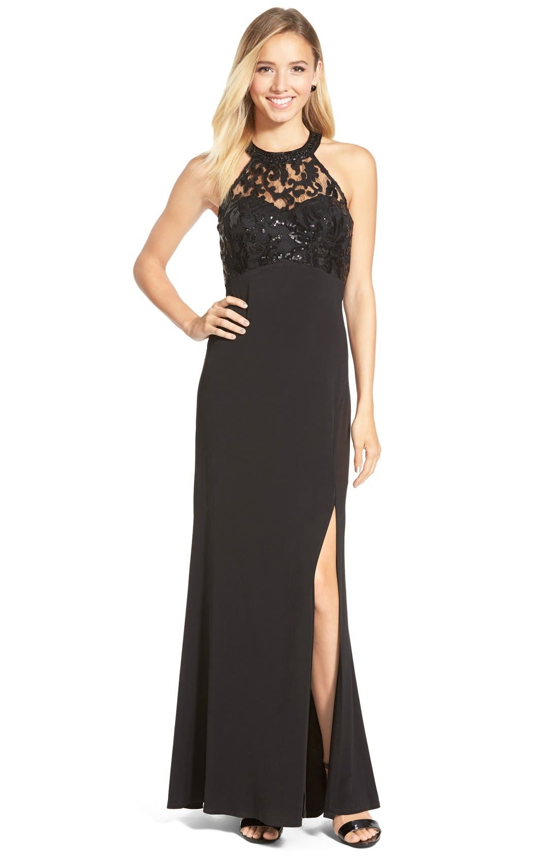 Main Image - Sequin Hearts Sequin Lace Halter Gown
