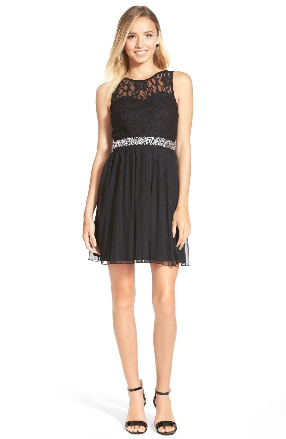 Main Image - Speechless Embellished Lace Bodice Skater Dress (Juniors)