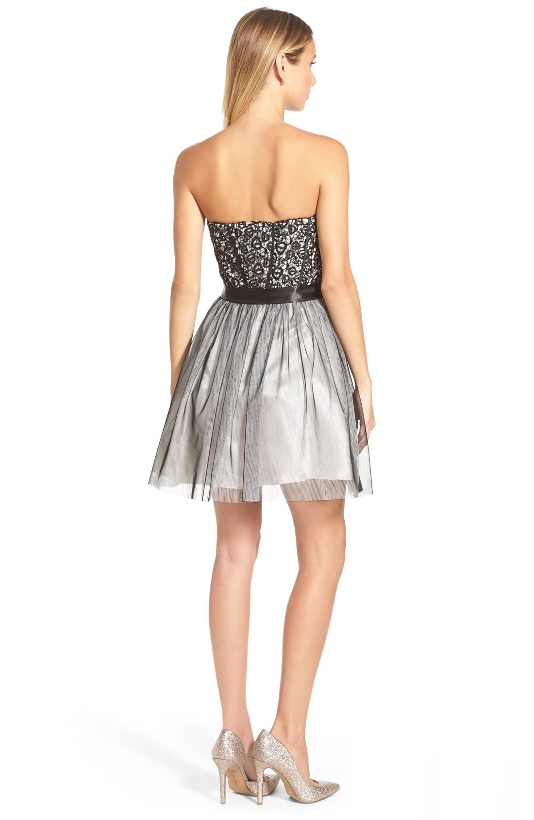 Alternate Image 2  - Steppin Out Sequin Lace Strapless Skater Dress (Juniors)