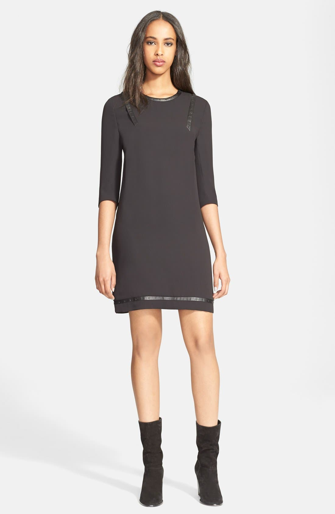 Main Image - The Kooples Studded Faux Leather Trim Crepe Shift Dress