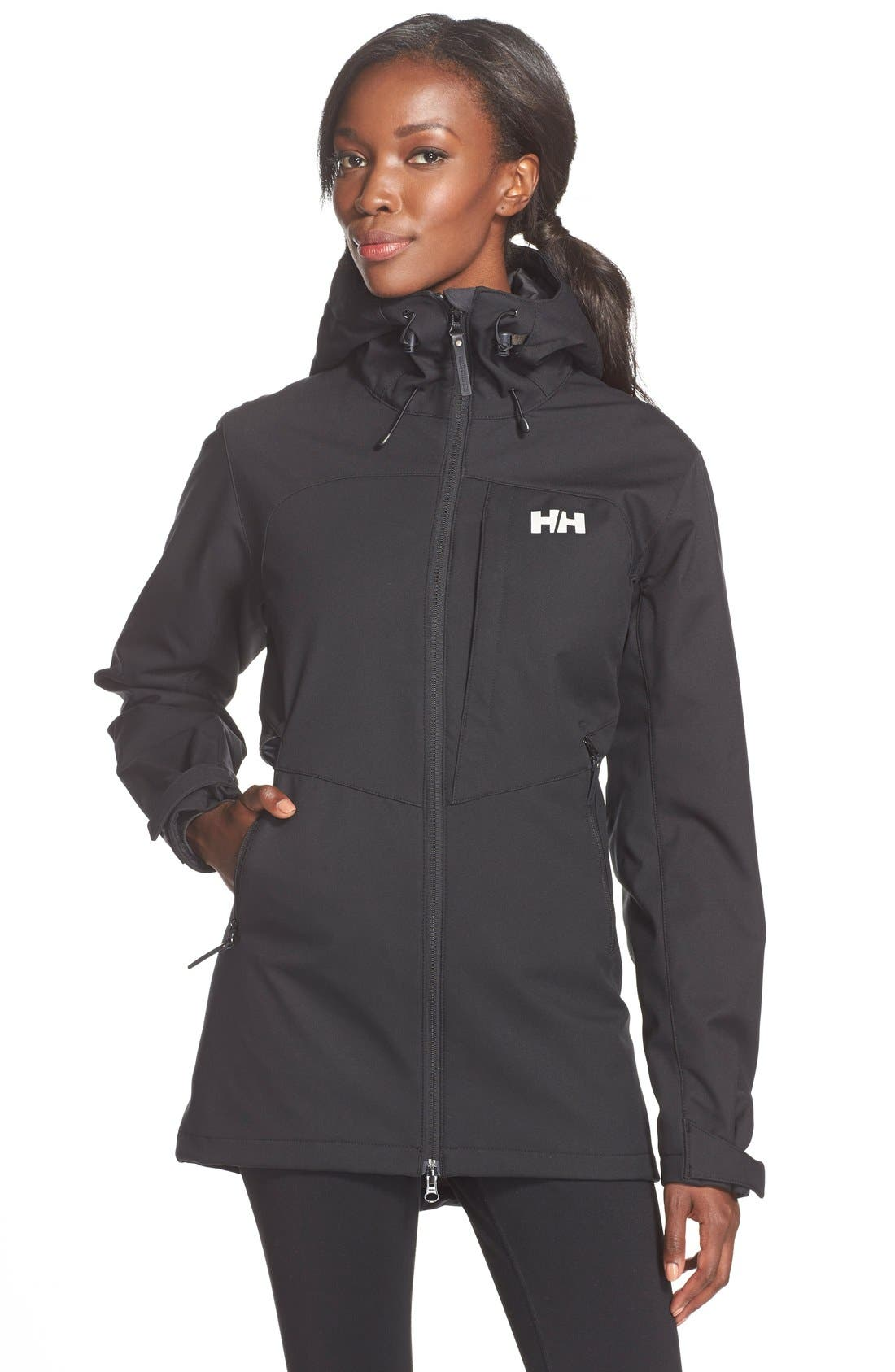'Paramount' Water Repellent Softshell Parka,                         Main,                         color, Black/ Black
